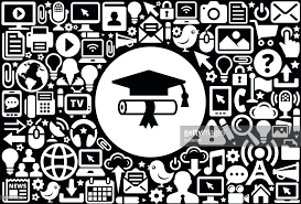 diploma and hat icon black and white internet technology  diploma and hat icon black and white internet technology background vector art