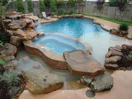 natural looking in ground pools. Rustic Swimming Pool With Natural Rock Accent, Water Feature, Hot Tub Looking In Ground Pools