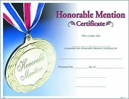 Honorable Mention Certificate Blank Certificate To Fill In Photo Honorable Mention