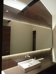 Backlit Mirror Powder Room contemporary-powder-room