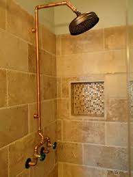 Shower Bathroom Exposed Plumbing Industrial Style Shower For The Teenage Boys