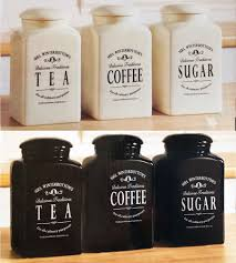 Black Kitchen Storage Jars Glass Tea Coffee Sugar Canisters Coffetable