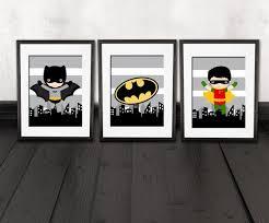 Batman kids room, batman wall decor, robin, set of 3 PRINTS, super hero  kids bedroom decor