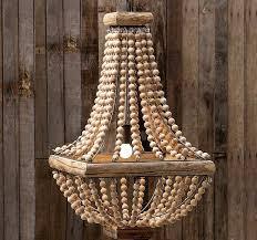 wood beaded chandelier