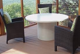 white concrete table 52 round table top with 24 round concrete basewhite verigated with copper inlays white concrete table