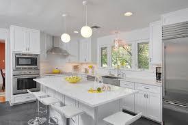 Small white kitchens with white appliances Brazilian Cherry Floor Brightyourkitchenwithsparklingwhitequartzcountertop19 Sparkling Apartment Geeks Sparkling White Quartz Countertop For Your Kitchen Design