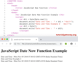 Javascript Date Now Function
