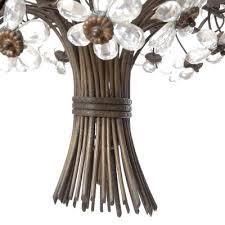 vintage six light bronze crystal flower chandelier from maison baguès 2