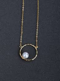 simple round imitation pearls 925 silver necklaces