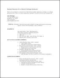 Sample Resume Recent College Grad Iamfree Club