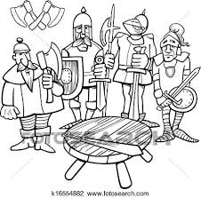 round table clipart black and white. clipart - knights of the round table coloring page. fotosearch search clip art, black and white