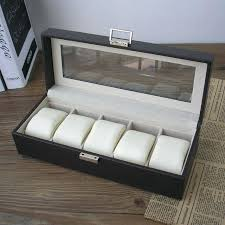 glass top jewelry box 5 slot wood structure leather watch storage box display case jewelry box
