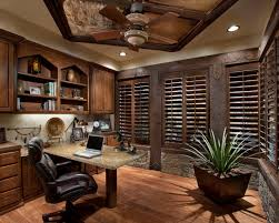comfortable home office. Comfortable Home Office : Breathtaking Space Idea Presented With Dark Brown Colored Blind Windows And Small