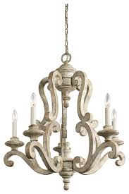 5 light standard bulb chandelier distressed antique white