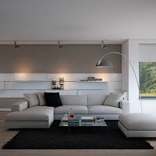 indulgent grey apartment neutral couch atop black area rug with minimal accessories and floor l