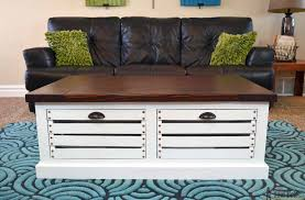 a crate storage coffee table in a living room