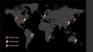 office world map. Map Pins Infographic View Theme Widescreen Office World D