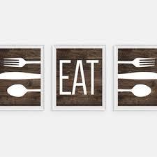 rustic kitchen art print eat fork spoon knife art faux wood on knife fork spoon kitchen wall art with shop fork and spoon wall art on wanelo