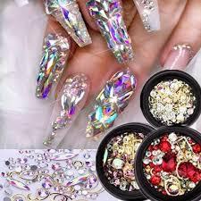 Smíšené Nehty Design Flame Rainbow Nail Crystal Drahokamy Nail Decor Stone At Vova