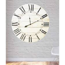 36 in x 36 in vintage white farmhouse oversized wall clock