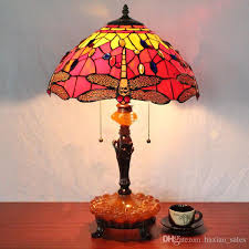 best quality european style old castle dragonfly bead tiffany table lamp living room bedroom bedside desk lamp red glass lampshade table light at