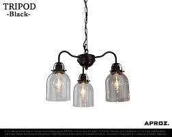 tripod 3p try pot 3 light aproz アプロス lighting pendant light chandelier steel glass azp 561 sf bk