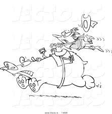 Small Picture Vector of a Cartoon Tough Rodeo Cowboy Riding a Bear Coloring