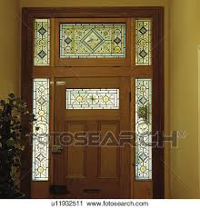 stock photography victorian stained glass panels in traditional wooden front door fotosearch search