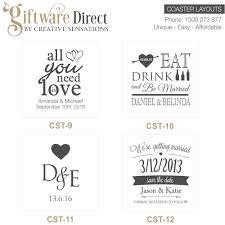 Wedding Coasters Personalised Engraved Glass Wedding Coasters Wedding Favours Cheap