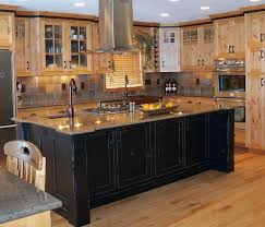 Hickory Kitchen Kitchen Rustic Hickory Kitchen Cabinets Black Countertops Yellow