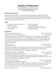 Preschool Teacher Assistant Resume Best Preschool Teaching Assistant Resumes ResumeHelp 67