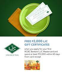 Generate 100% valid credit card numbers for data testing and other verification purposes. Free P2 000 Ljc Gift Certificates Rcbc Bankard