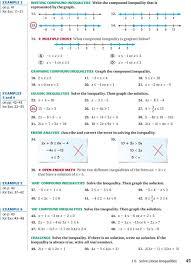 1 6 solve linear inequalities e xample 1 e xample 2 graph simple inequalities graph compound inequalities pdf
