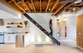 exposed lighting. exposed ceiling lighting staircase industrial with joists open riser stair wood grain