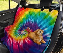 colorful tie dye spiral hippie car back
