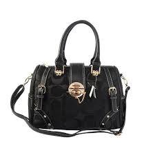 Coach Lock In Monogram Medium Black Luggage Bags BYX