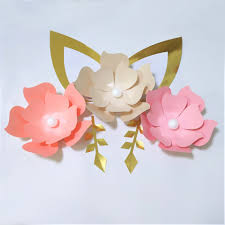cardstock rose diy easy paper flowers with ears leaves set for baby nursery wall flower decor shower birthday tutorials