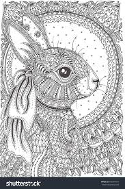 Rabbit Hand Drawn With Ethnic Floral