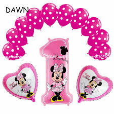 13pcs Lot Pink Blue Mickey Minnie Baby 1 Years Old Birthday