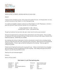Sample Letter To Parents Opening