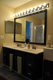 Bathroom Large Hollywood Style Vanity Mirror With Black Wooden