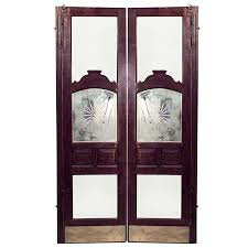 american oak and bevelled glass saloon doors for