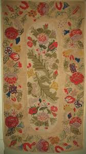 view large image fl spray fl border antique hooked rug