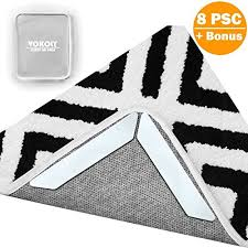 vokoly rug gripper non slip rug pad 8 pcs removable and reusable carpet gripper pad keeps rugs in place and corners flat double sided tape ideal rug