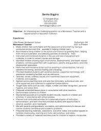 Montessori Teacher Resume Sample Resume Peppapp