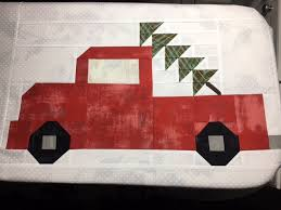 Cozy Little Quilts: Vintage Christmas Quilt & I chose red Grunge fabric for the trucks and used Juniper Berry for the  trees and borders Adamdwight.com