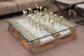 pallet furniture table. Diy-pallet-furniture-ideas-table-white-decorative-pebbles- Pallet Furniture Table