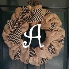 letters for front doorBurlap Wreath with Black Chevron Burlap Bow and Monogram