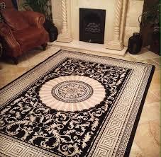immaculate persian versace designer style rug carpet mat black gold cream xl large