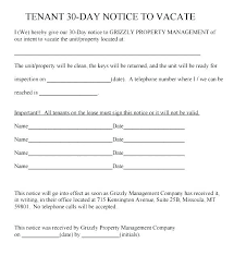 30 day notice to landlord form sample day notice to landlord form 8 free documents in doc vacate